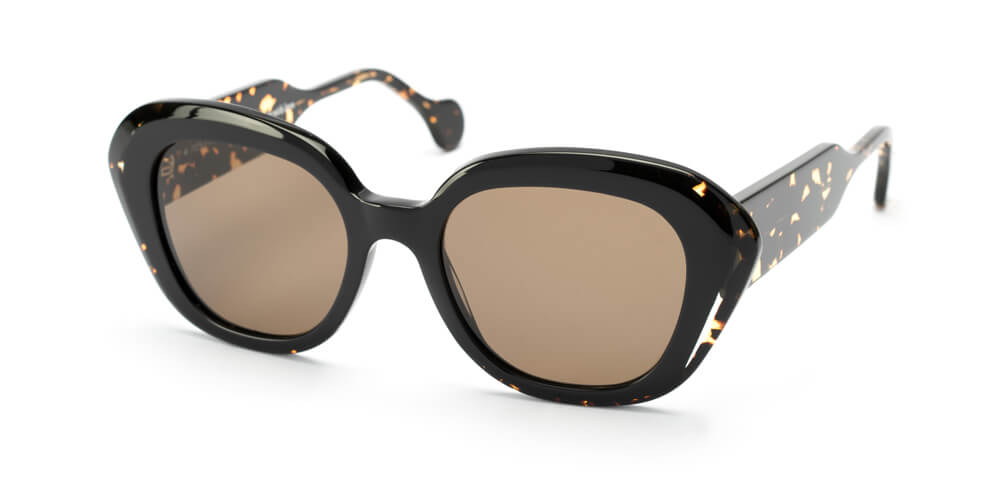 BLACK / CRYSTAL / DARK HAVANA - PLAIN BROWN LENS